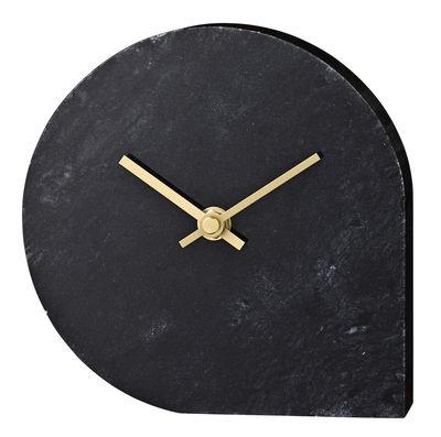 Déco - Horloges  - Horloge à poser Stilla / Marbre - Ø 16 cm - AYTM - Marbre noir / Aiguilles dorées - Marbre, Métal doré