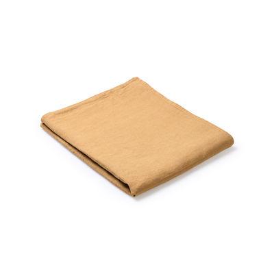 Nappe en tissu / 160 x 160 cm - Lin traité TEFLON®anti-tache - Au Printemps Paris jaune/orange/marron/or en tissu