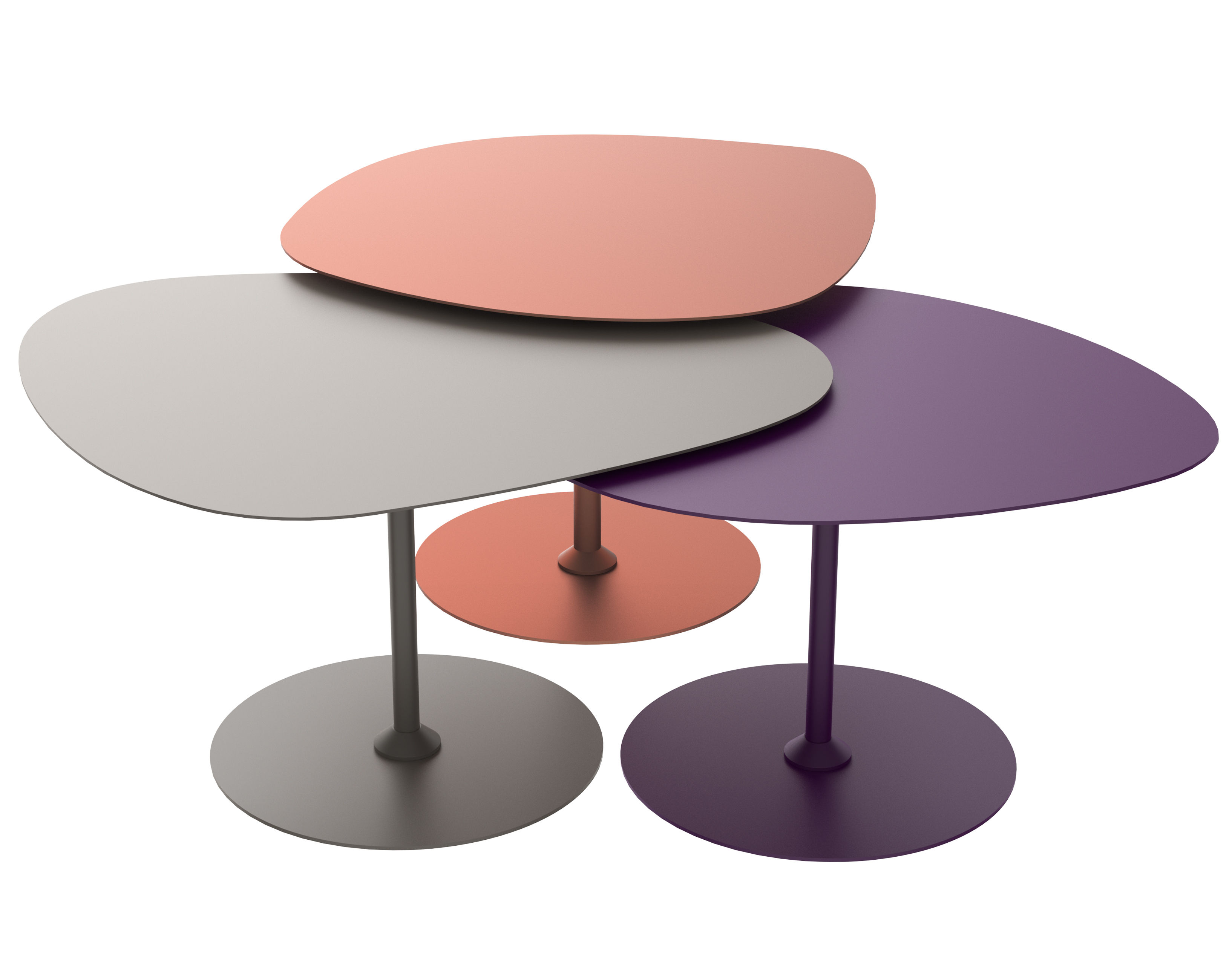 Furniture - Coffee Tables - 3 Galets Outdoor Nested tables - Set of 3 by Matière Grise - Copper, Taupe, Aubergine - Painted aluminium