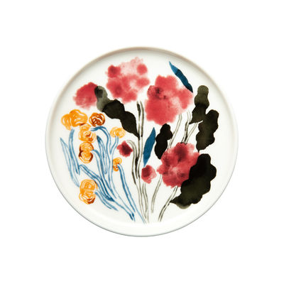 Tableware - Plates - Hyhmä Petit fours plates - / Ø 13.5 cm by Marimekko - Hyhmä / White, Blue & red - Sandstone