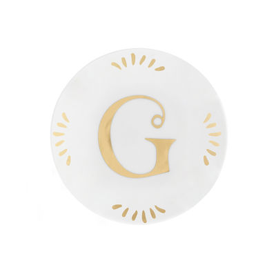 Tableware - Plates - Lettering Petit fours plates - Ø 12 cm / Letter G by Bitossi Home - Letter G / Gold - China