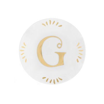 Tavola - Piatti  - Piatto per dolcetti Lettering - Ø 12 cm / Lettera G di Bitossi Home - Lettera G / Or - Porcellana