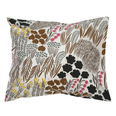 Decoration - Bedding & Bath Towels - Pieni Letto pillowcase - / 80 x 80 cm by Marimekko - Pieni Letto / Off white, brown & green - Cotton