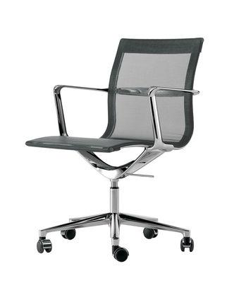 Arredamento - Sedie ufficio - Poltrona a rotelle Una chair - girevole - Seduta a rete di ICF - Grafite - Alluminio, Maglia elastica