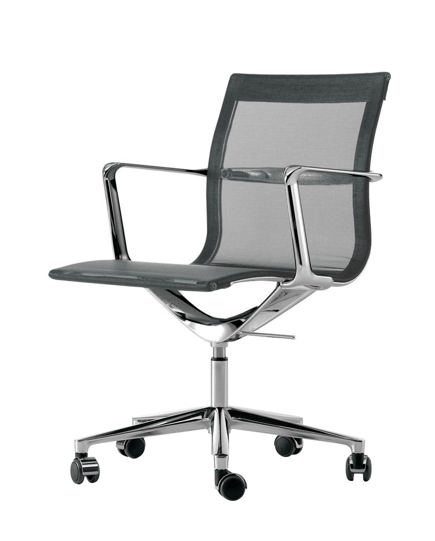 Office Chairs - Chair with castors - Poltrona a rotelle Una chair - girevole - Seduta a rete di ICF - Grafite - Alluminio, Maglia elastica