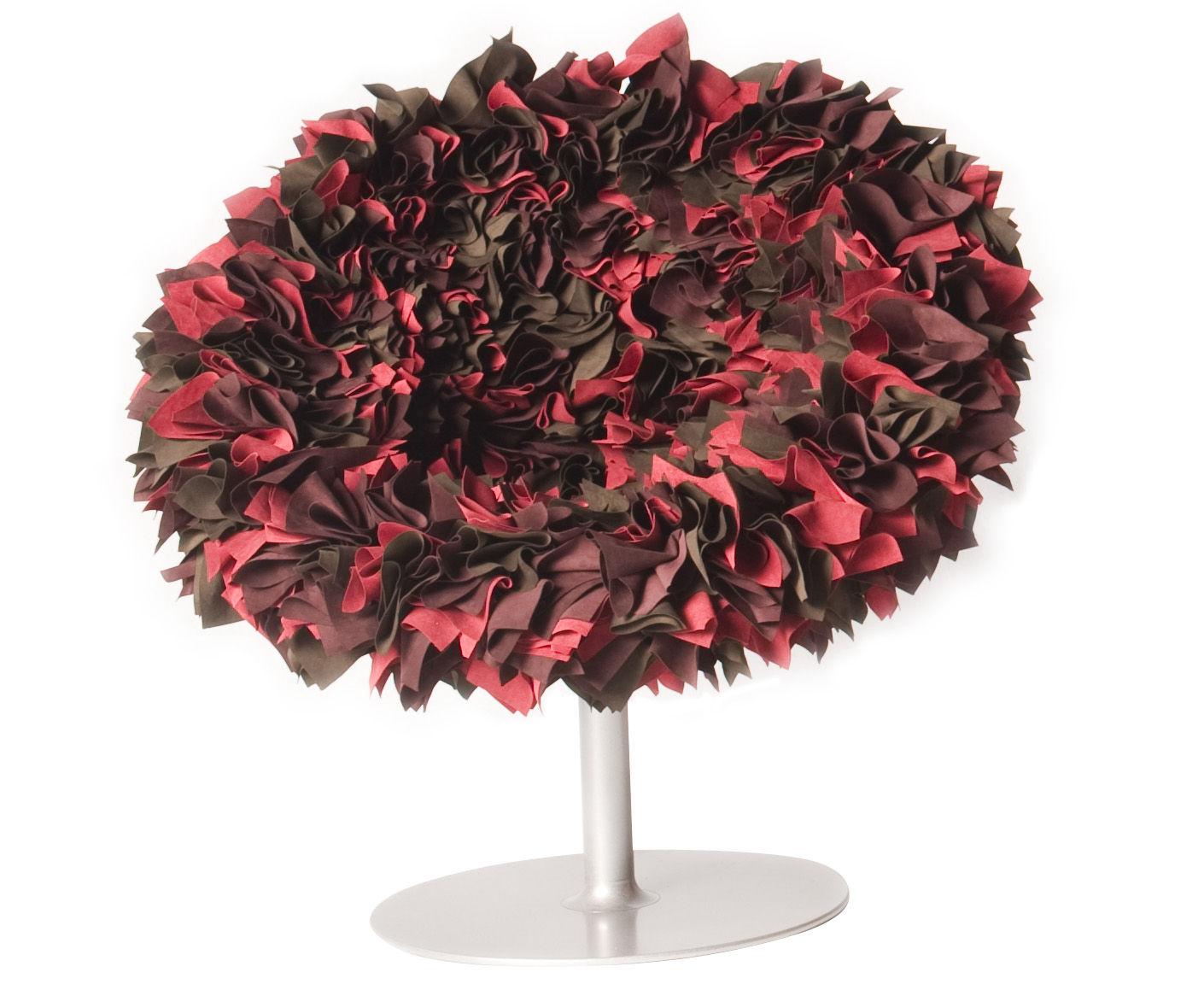 Arredamento - Mobili d'eccezione - Poltrona girevole Bouquet di Moroso - Tonalità rosse / Scocca bordeaux - Acciaio verniciato, Fibra di vetro, Tessuto
