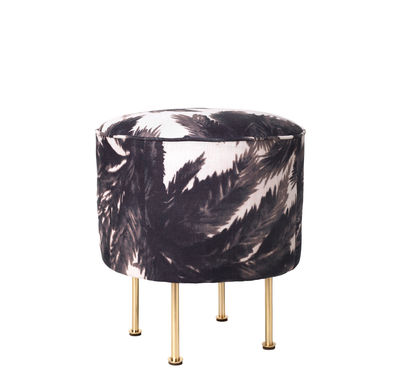 Furniture - Poufs & Floor Cushions - Modern Line Pouf - /Grossman - Ø 38 cm – Reissue 1949 by Gubi - Black palm trees/Brass legs - Acier plaqué, Fabric, Foam, Wood