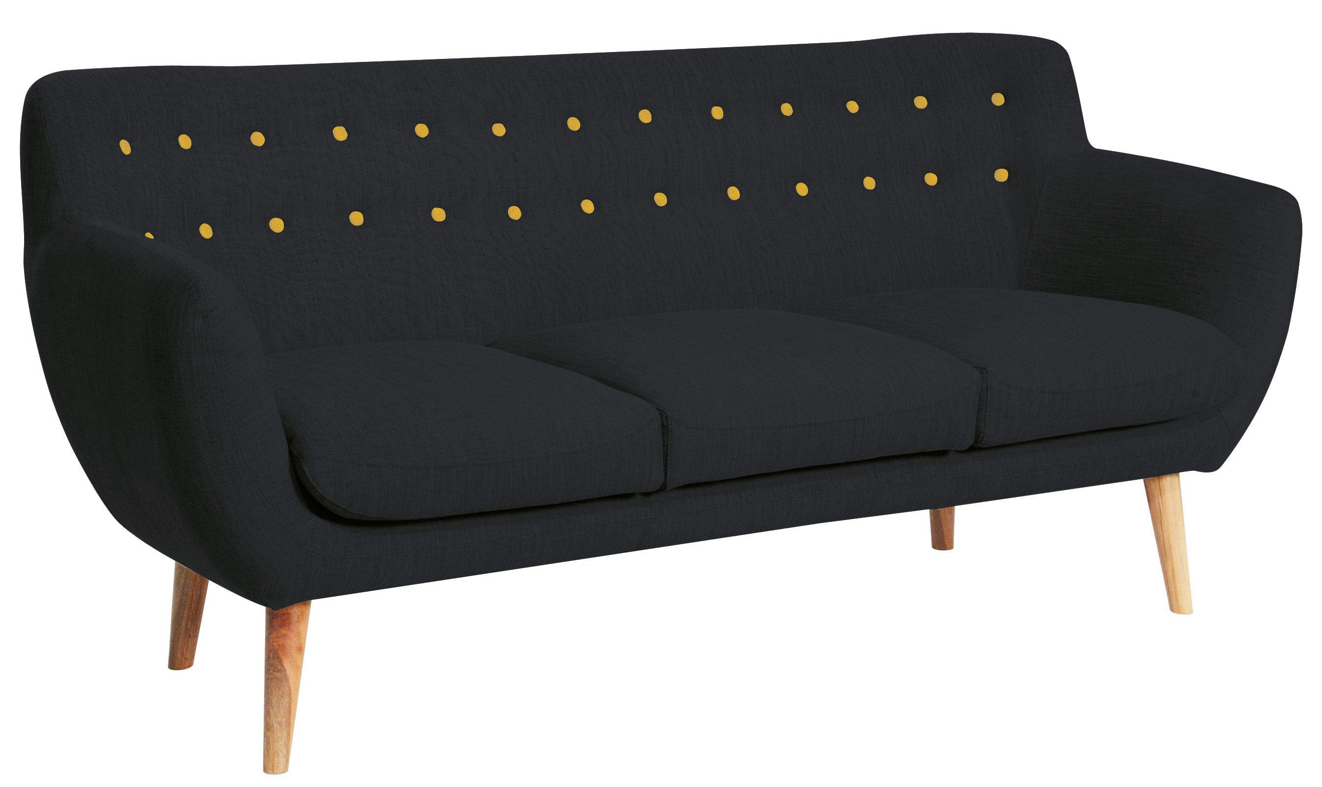 Möbel - Sofas - Coogee Sofa / 3-Sitzer - B 181 cm - Sentou Edition - Pechschwarz / Zitrongelb - Gewebe, Holz, Schaumstoff