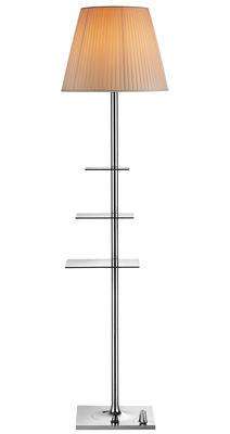 Leuchten - Stehleuchten - Bibliothèque Nationale Stehleuchte / mit integriertem USB-Port - Flos - Lampenschirm beige / Ständer und Fuß chromglänzend - Gewebe, poliertes Aluminium, Polykarbonat