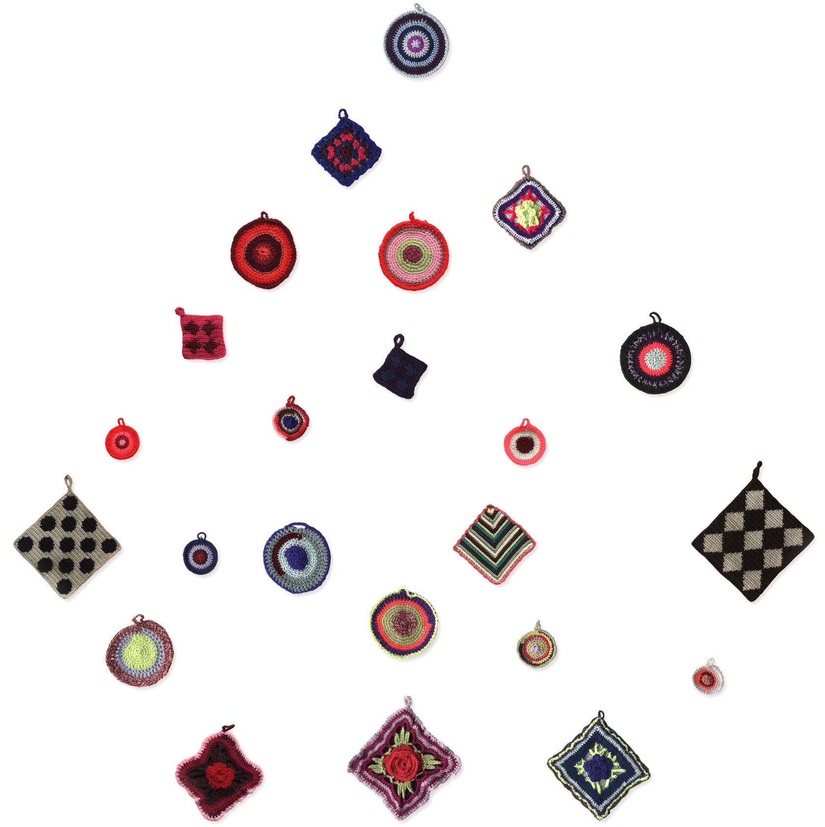 Dekoration - Stickers und Tapeten - Napperons 2 Sticker / 23er-Set - Domestic - 23er-Set / mehrfarbig - Vinyl