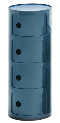 Furniture - Bookcases & Bookshelves - Componibili Storage - 4 drawers - H 77 cm by Kartell - Blue - ABS