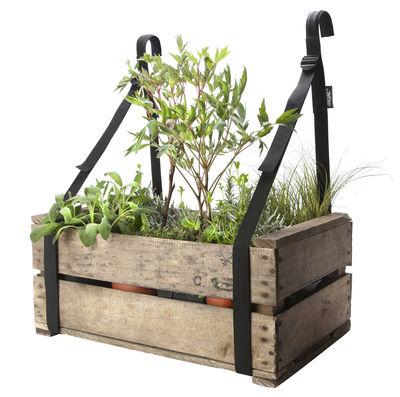 Outdoor - Pots et plantes - Support jardinière Bretelles de balcon / Set 2 sangles suspension - Bacsac - Noir - Métal, Polyester