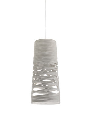 Luminaire - Suspensions - Suspension Tress Mini / Ø 20 cm x H 43 cm - Foscarini - Blanc - Fibre de verre, Matériau composite