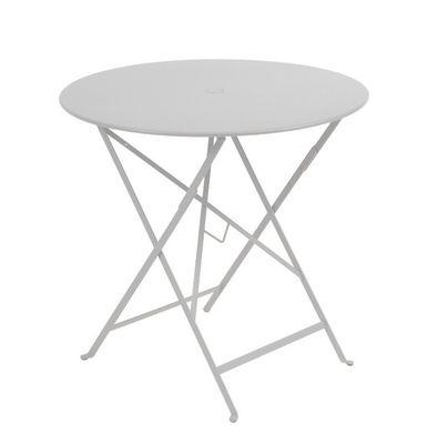 Jardin - Tables de jardin - Table pliante Bistro / Ø 77cm - Trou pour parasol - Fermob - Gris métal - Acier laqué