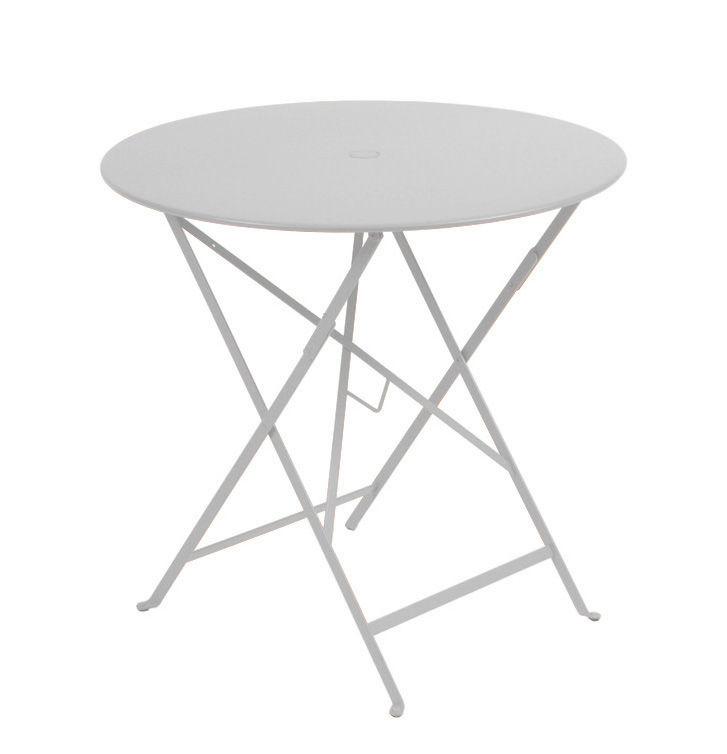 Outdoor - Tables de jardin - Table pliante Bistro / Ø 77cm - Trou pour parasol - Fermob - Gris métal - Acier laqué