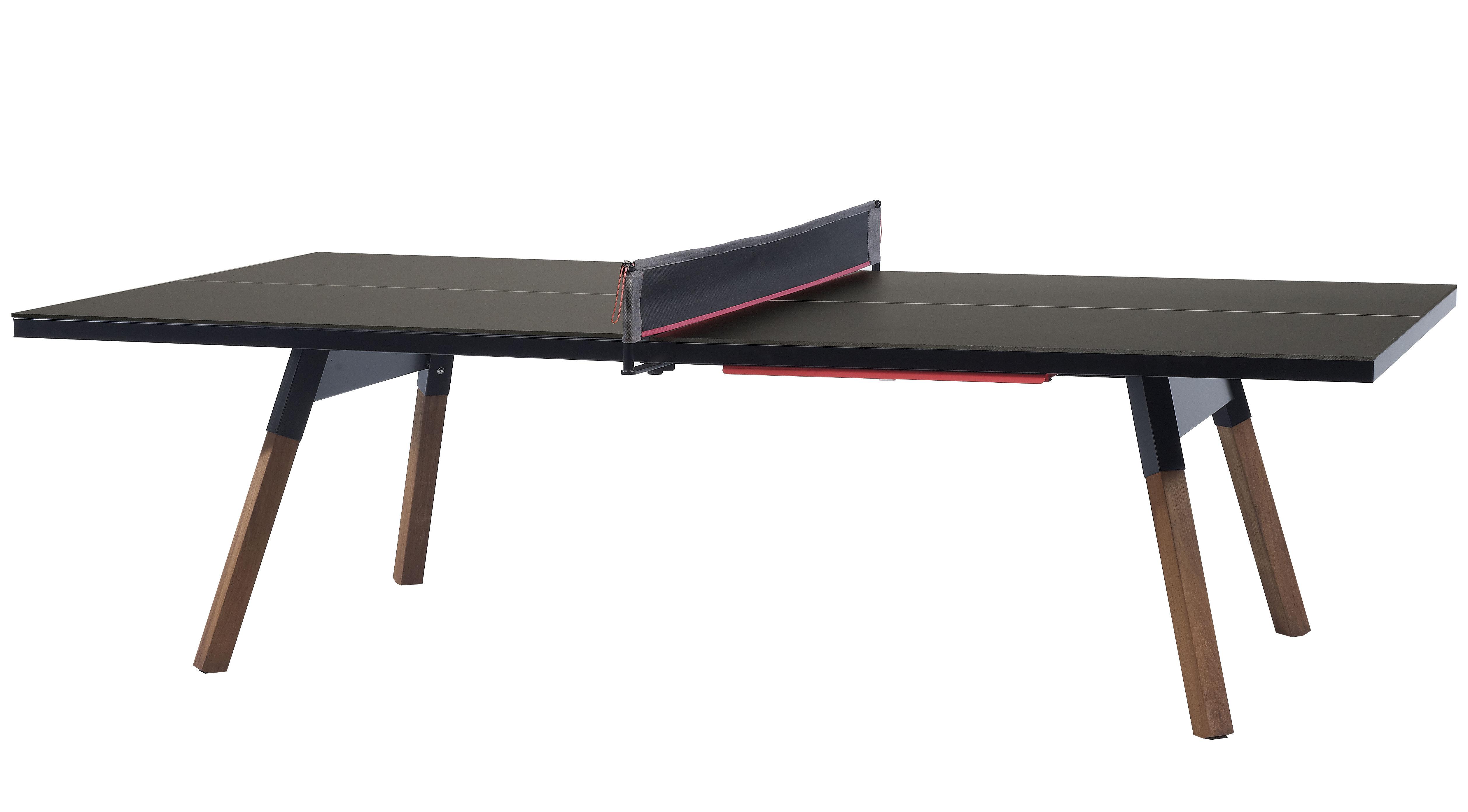 Table y m l 220 cm table ping pong repas noir - Table en bois pied noir ...