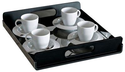 Tischkultur - Tabletts - Vassily Tablett - Alessi - L 35 cm - Stahl und Griffe schwarz - PMMA, polierter rostfreier Stahl