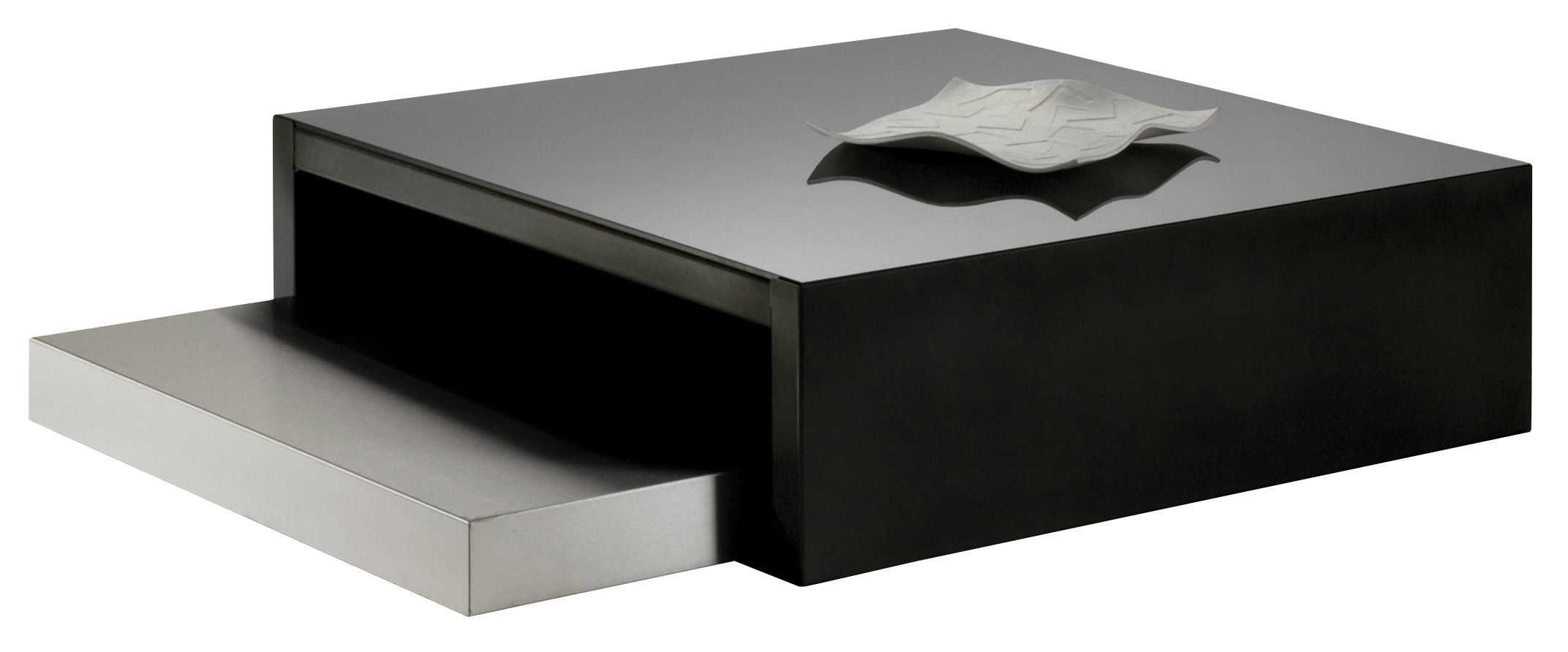 Arredamento - Tavolini  - Tavolini estraibili Max & Moritz - Vetro nero di Zeus - Acciaio fosfatato e vetro nero - inox - 100 x 100 cm - Acciaio satinato, Vetro