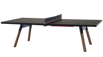 Table Y&M / L 220 cm - Table ping pong & repas - RS BARCELONA - Schwarz,Holz natur