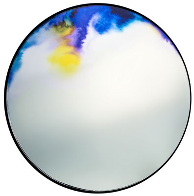 Decoration - Mirrors - Francis Wall mirror - Ø 45 cm by Petite Friture - Blue watercolor - Glass, Painted aluminium