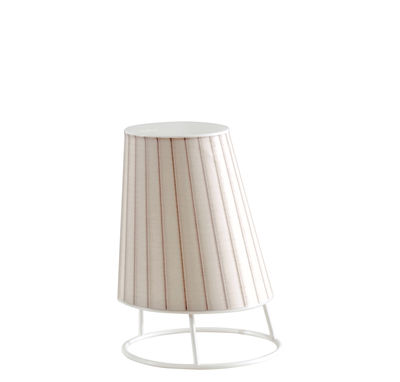 Lighting - Table Lamps - Cone LED Small Wireless lamp - / H 22 cm by Emu - Pleated - Plastic material, Polycarbonate, Synthetic fabric