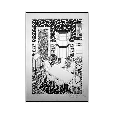 Déco - Stickers, papiers peints & posters - Affiche Drawing for Interior 3 / Sérigraphie by George J. Sowden, 1983 - Edition limitée, signée - Memphis Milano - Interior 3 - Papier