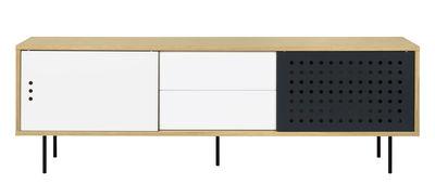Möbel - Kommode und Anrichte - Amsterdam Dots Anrichte / TV-Möbel - L 201 cm - POP UP HOME - L 201 cm / Eiche, weiß, anthrazit - Eichensperrholz, Metall, mitteldichte bemalte Holzfaserplatte, Panneaux de particules