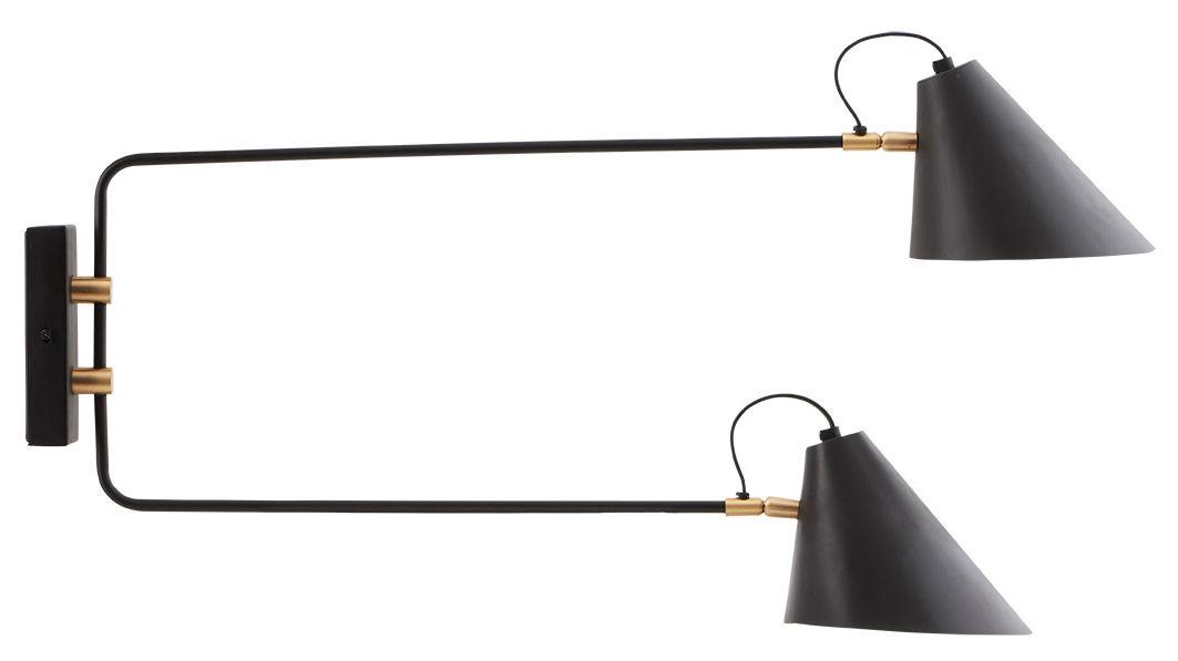 applique avec prise club double 2 bras pivotants m tal l 81 cm noir et laiton house doctor. Black Bedroom Furniture Sets. Home Design Ideas