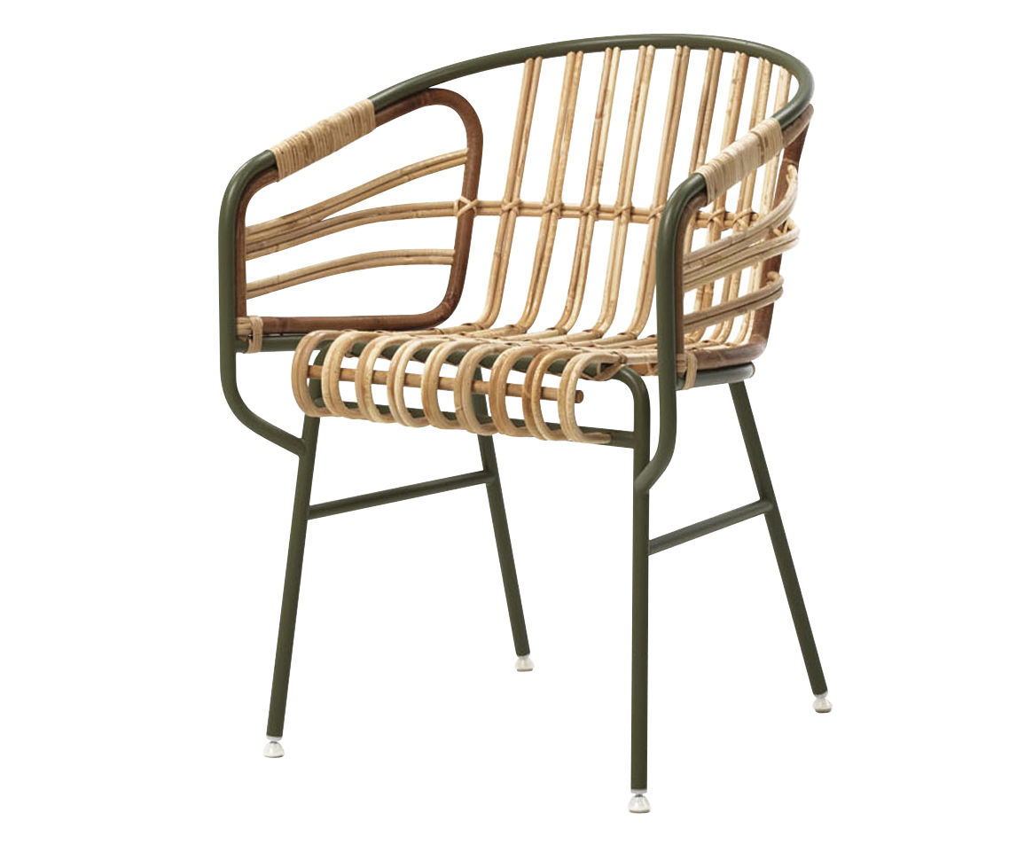 Furniture - Armchairs - Raphia Armchair by Casamania - Sage green - Cane, Varnished metal