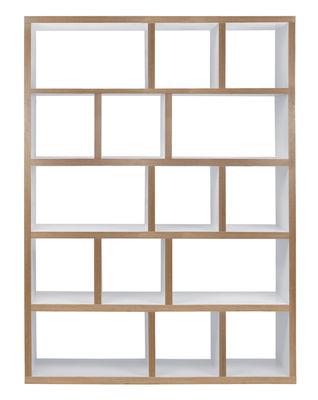 Mobilier - Etagères & bibliothèques - Bibliothèque Rotterdam / L 150 x H 198 cm - POP UP HOME - Blanc / Tranches : bois - Contreplaqué de chêne, Panneaux alvéolaires
