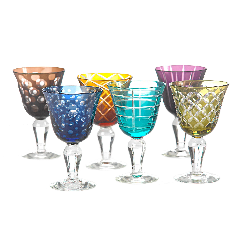 Tavola - Bicchieri  - Bicchiere da vino Cuttings - / Set da 6 di Pols Potten - Multicolore - Vetro
