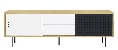 Buffet Amsterdam Dots / Meuble TV - L 201 cm - POP UP HOME blanc,anthracite,chêne naturel en bois