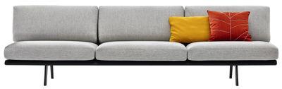 Canapé droit Zinta Lounge / 3 places, L 270 cm - Arper gris/noir en tissu/bois