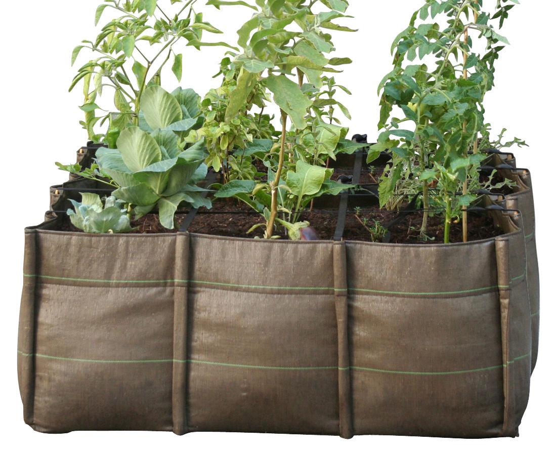 Outdoor - Pots et plantes - Carré potager BacSquare 9 / Geotextile Outdoor - 330 L - Bacsac - 9 carrés (330L) / Marron - Toile géotextile
