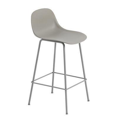Mobilier - Tabourets de bar - Chaise de bar Fiber Bar / H 65 cm - Pieds métal - Muuto - Gris - Acier peint, Matériau composite recyclé