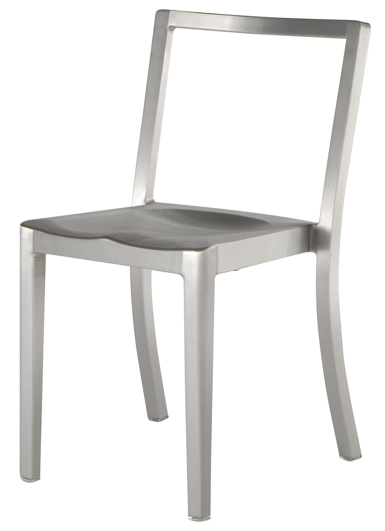 Mobilier - Chaises, fauteuils de salle à manger - Chaise Icon Outdoor / Aluminium brossé - Emeco - Aluminium brossé (outdoor) - Aluminium brossé recyclé