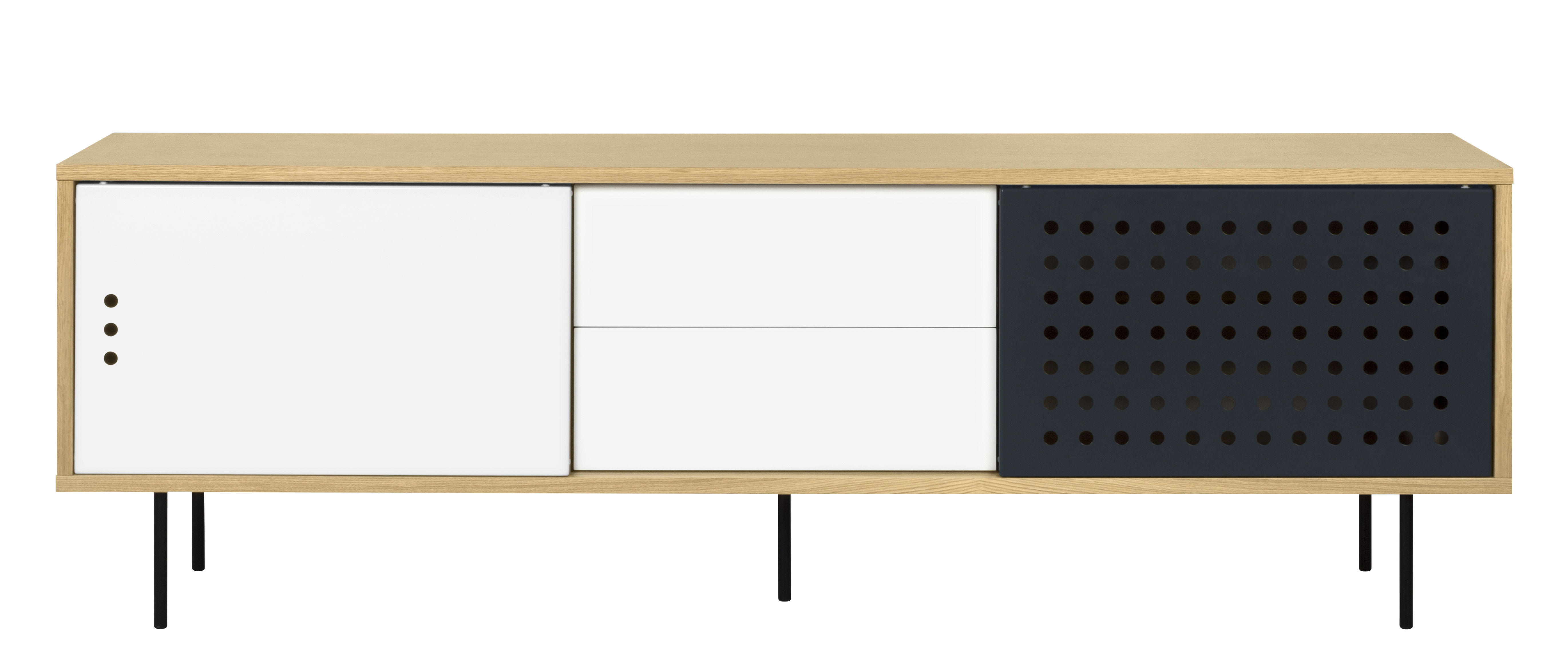 Furniture - Dressers & Storage Units - Amsterdam Dots Dresser - / TV stand - L 201 cm by POP UP HOME - L 201 cm / Oak, white, anthracite - Metal, Oak plywood, Painted MDF, Particle board