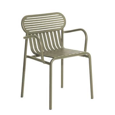 Mobilier - Chaises, fauteuils de salle à manger - Fauteuil bridge Week-End / Empilable - Aluminium - Petite Friture - Vert Jade - Aluminium thermolaqué époxy