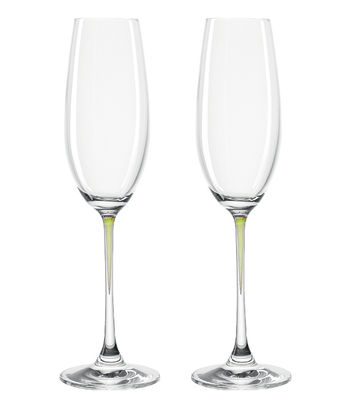 Flûte à champagne La Perla / Set de 2 - Leonardo vert en verre