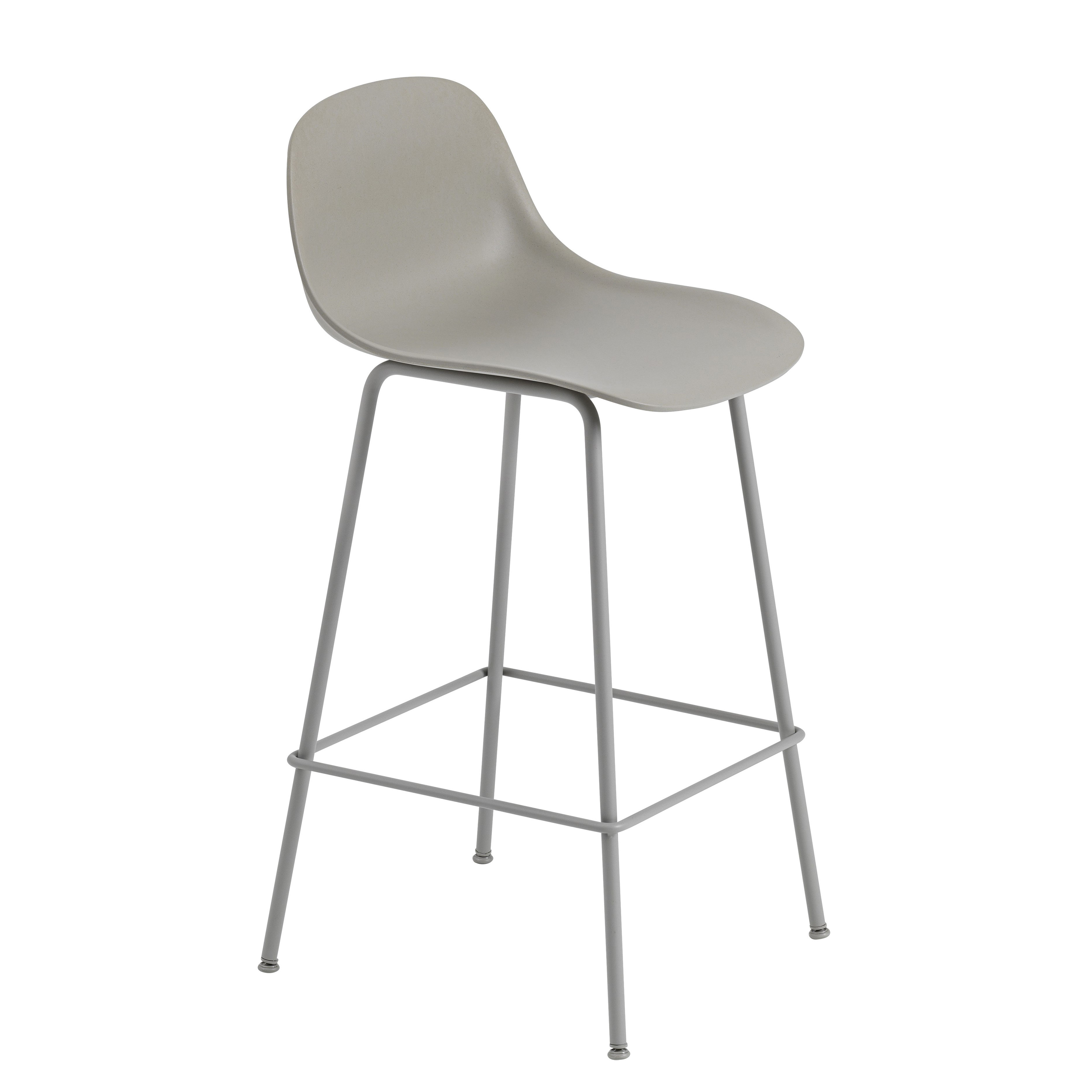 Möbel - Barhocker - Fiber Bar Hochstuhl / H 65 cm - Metallfüße - Muuto - Grau - bemalter Stahl, Recyceltes Verbundmaterial