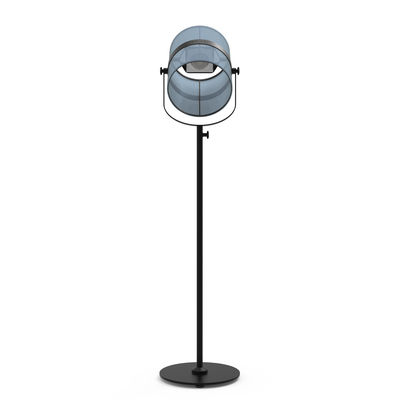 Luminaire - Lampadaires - Lampadaire solaire La Lampe Paris LED / Hybride & connectée - Maiori - Bleu royal / Pied Charbon - Aluminium peint, Tissu