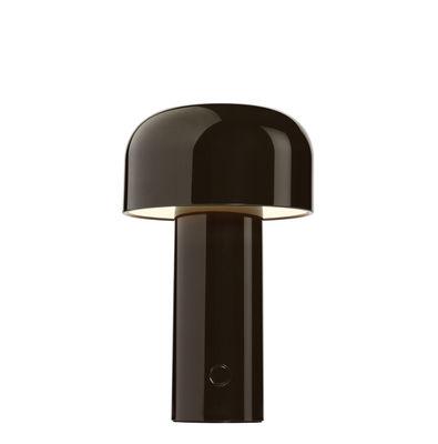 Lampe de table Bellhop / Sans fil - Recharge USB - Flos chocolat en matière plastique