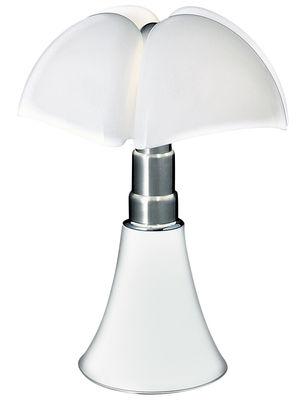Luminaire - Lampes de table - Lampe de table Pipistrello / H 66 à 86 cm - Martinelli Luce - Blanc / Abat-jour blanc - Acier galvanisé, Aluminium laqué, Méthacrylate opalin