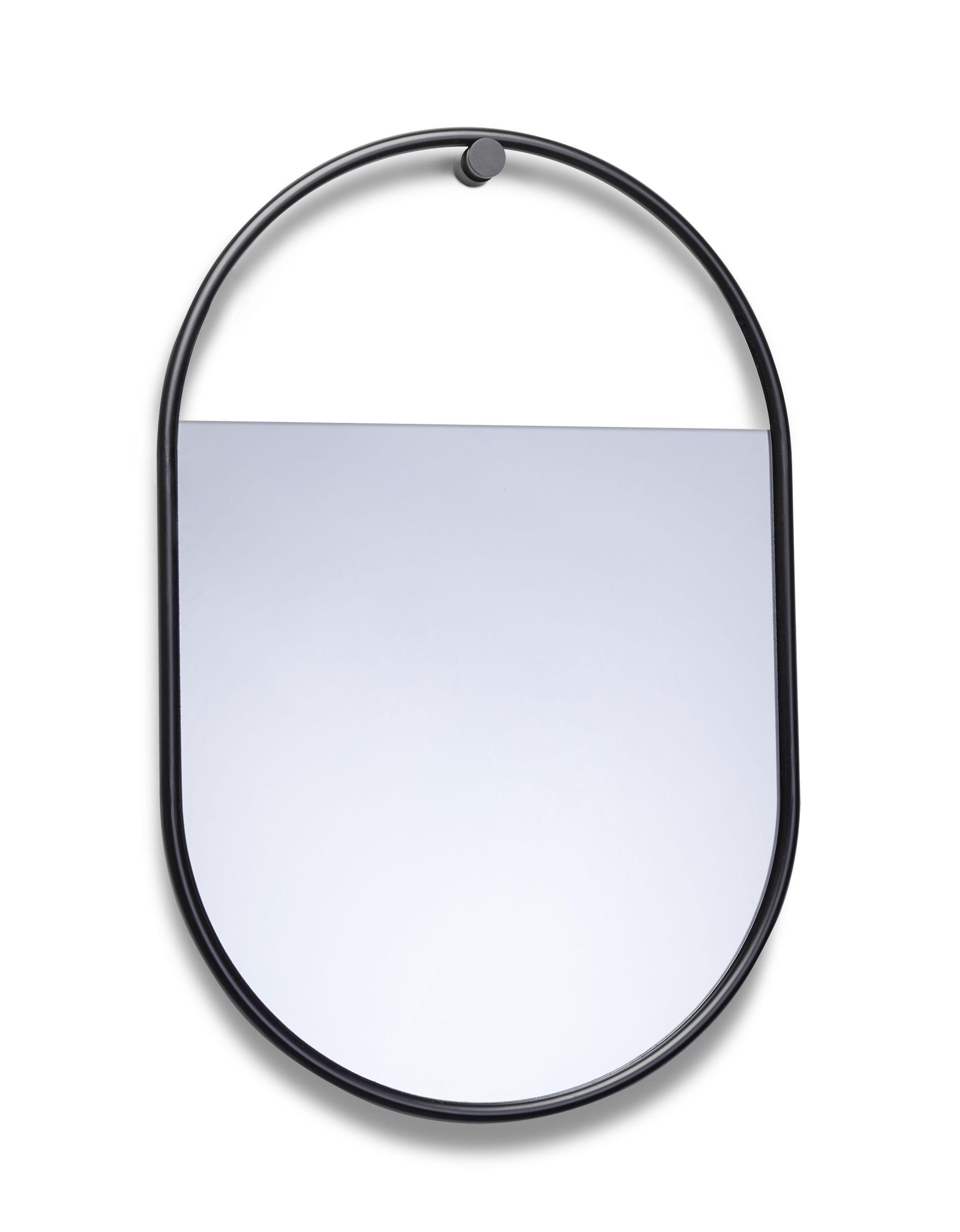 Déco - Miroirs - Miroir mural Peek Small / Ovale - 40 x 60 cm - Northern  - H 60 cm / Noir - Acier laqué, Verre teinté