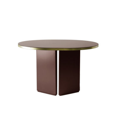 Furniture - Dining Tables - Brandy Oval table - / 120 x 100 cm - Glass by ENOstudio - Burgundy / Brass rim - Lacquered MDF, Laquered glass, Metal