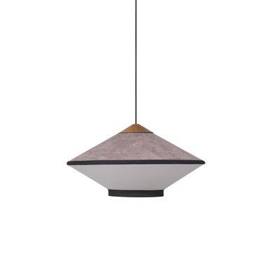 Lighting - Pendant Lighting - Cymbal Small Pendant - / Ø 50 - Velvet by Forestier - Powder pink - Fabric, Oak, Velvet
