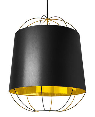 Lighting - Pendant Lighting - Lanterna  Medium Pendant by Petite Friture - Black / Gold - Cotton, Lacquered steel, PVC
