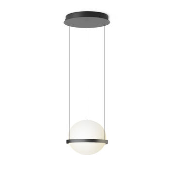 Lighting - Wall Lights - Palma Pendant - / Verticale by Vibia - Laqué graphite mat - Aluminium, Opalin mouth blown glass