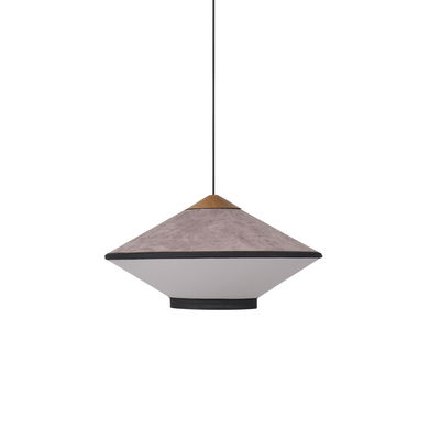 Cymbal Small Pendelleuchte / Ø 50 cm - Velours - Forestier - Eiche,Puderpink