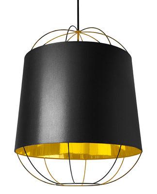 Leuchten - Pendelleuchten - Lanterna  Medium Pendelleuchte /  Ø 47 cm x H 60 cm - Petite Friture - Schwarz / goldfarben - Baumwolle, lackierter Stahl, PVC